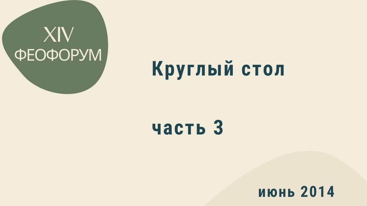XIV Феофорум. Круглый стол. Часть 3. Июнь 2014 года