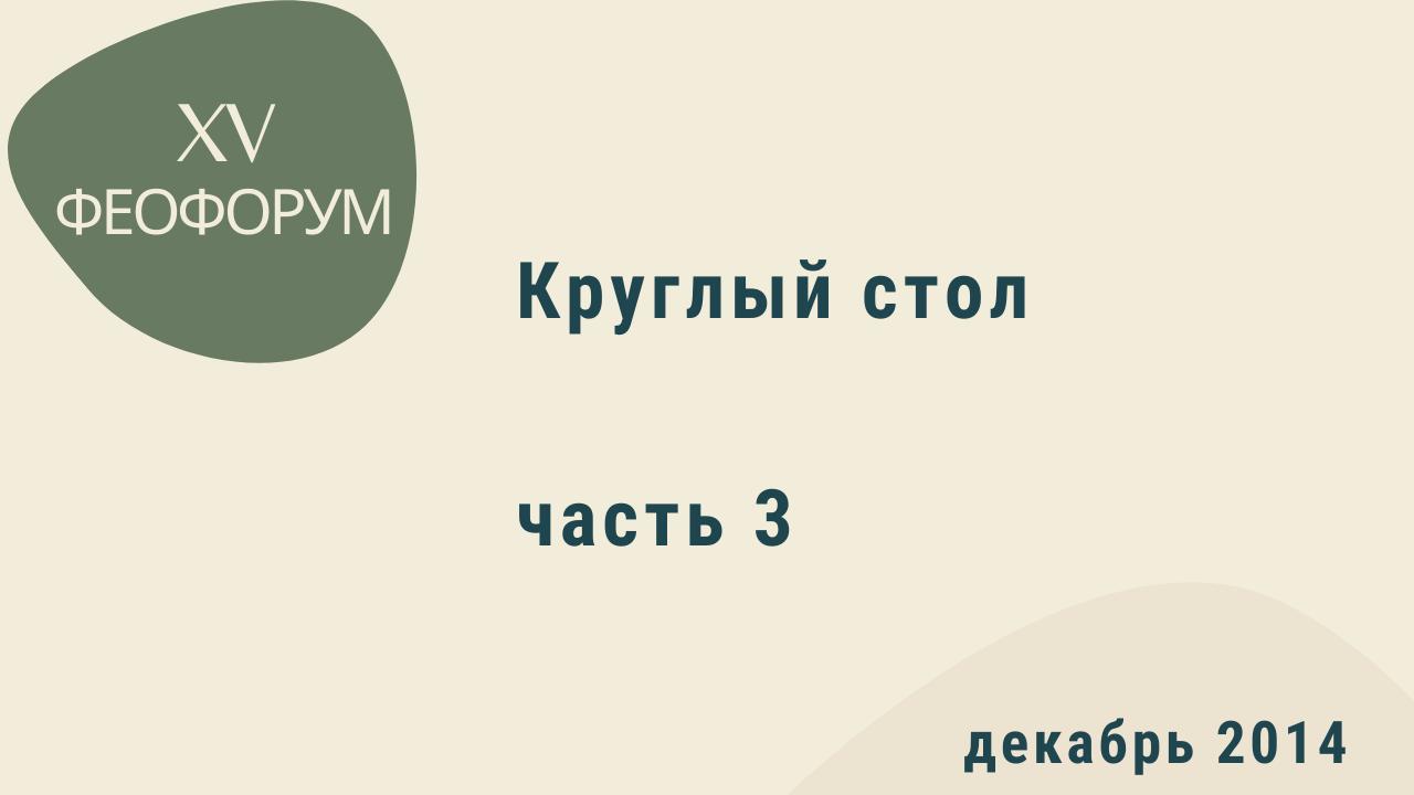 XV Феофорум. Круглый стол. Часть 3. Декабрь 2014 года